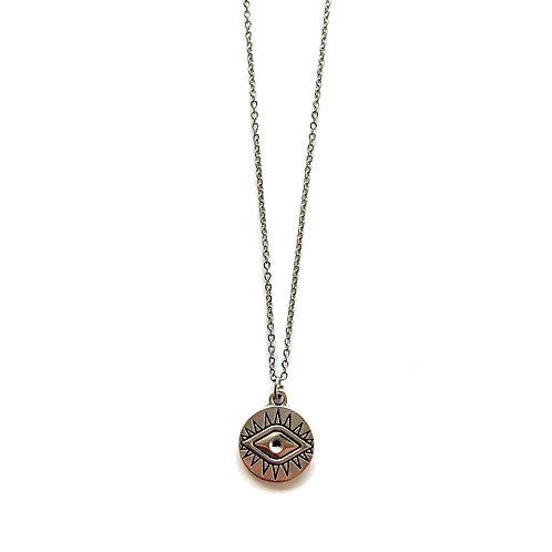 eye coin necklace silver