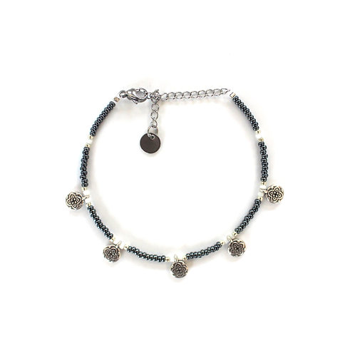 blue flower anklet silver