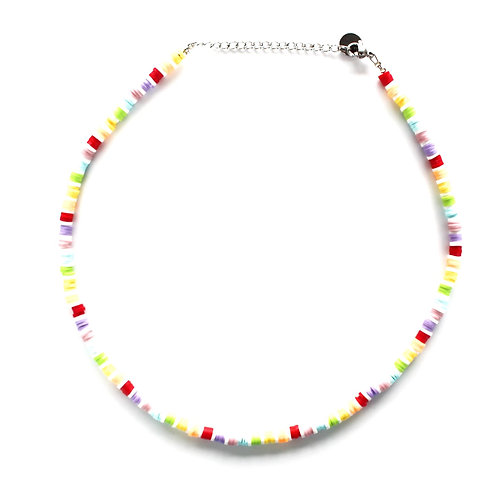 rainbow- white surfnecklace