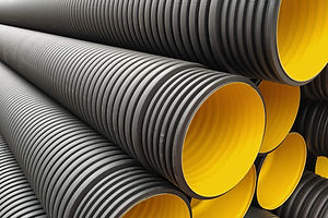 black construction pipes. corrugated pip