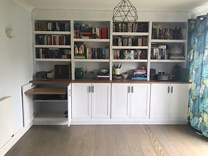 BOOKCASES AND CUPBOARDS WITH OAK WORKTOP
