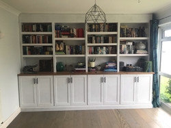 BOOKCASE AND CUPBOARDS WITH OAK WORKTOP