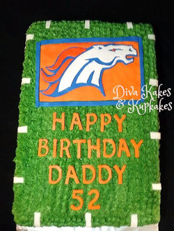 top view Broncos birthday cake