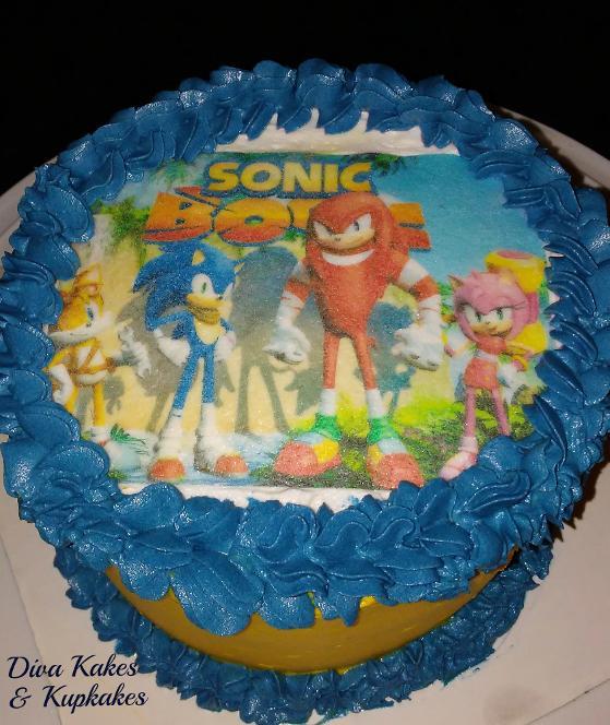 Sonic Boom 6 inch Photo Cake