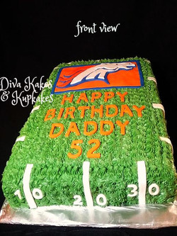 front view broncos birthday cake