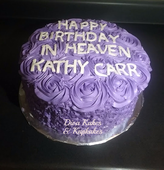purple 12 inch round rosette cake