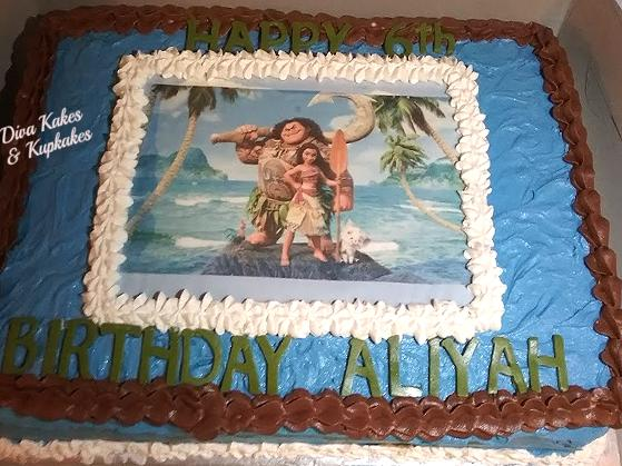 DIsney Moana Photo 1/2 Sheet Cake