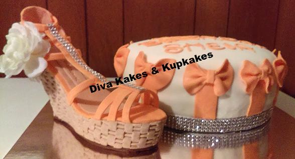 coral shoe cake