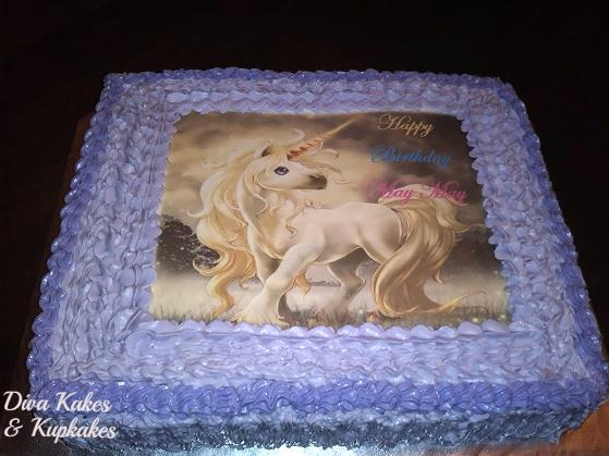unicorn edible image sheet cake