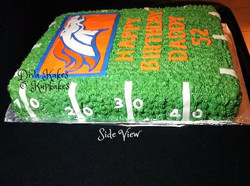 side view broncos birthday cake