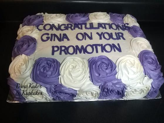 purple rosette half sheet cake