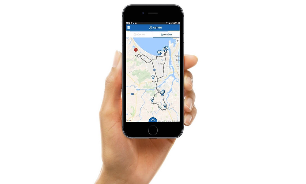 Abivin vRoute mobile app showing delivery points and sequence