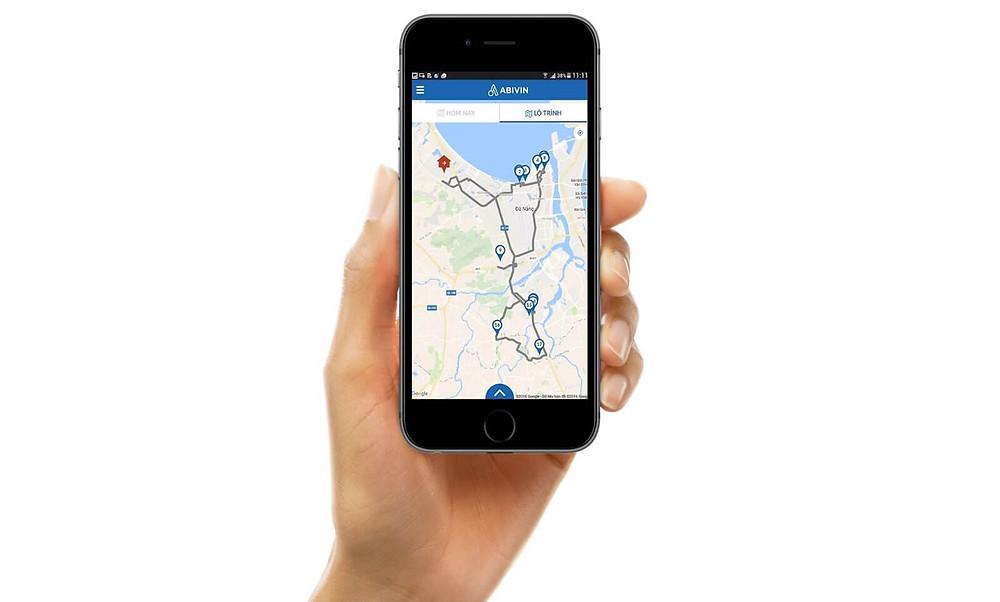 Ứng dụng Abivin vRoute hiển thị các điểm giao và đường đi