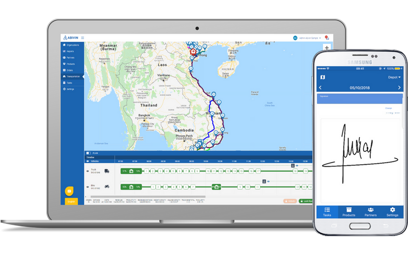 Abivin vRoute app for carriers, logistics service providers, 3PL,...