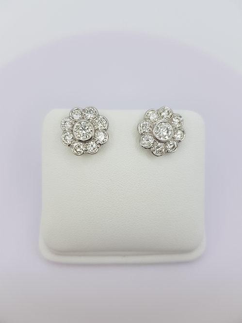 Daisy diamond cluster earrings 2.55cts