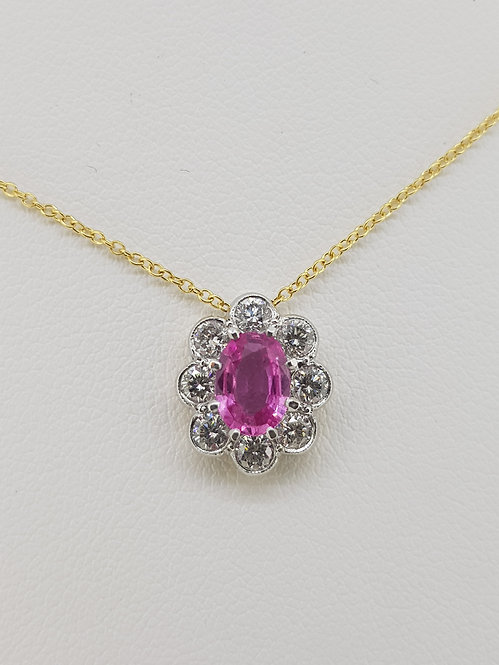 Pink sapphire and diamond pendant s.70 d.60