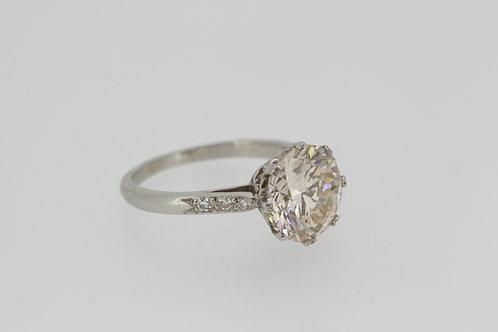 Platinum diamond solitaire ring J colour d3.01cts