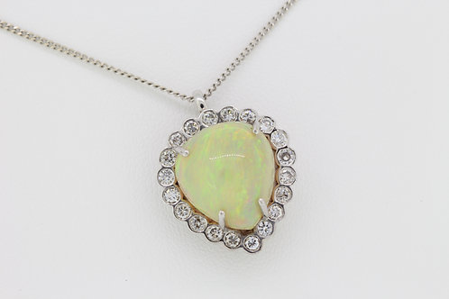 Opal and diamond pendant Opal 10cts D1.10cts est.