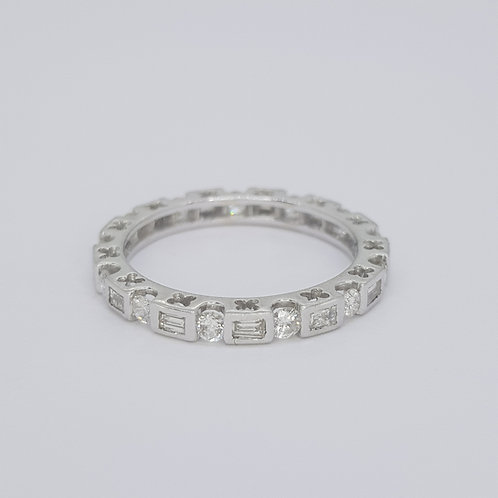 Baguette and brilliant cut full eternity band. D1.01 cts