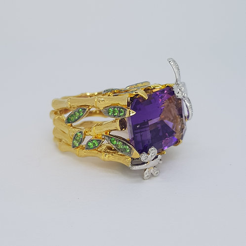 Amethyst diamond and green garnert ring