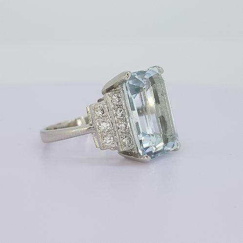 Aquamarine and diamond ring.