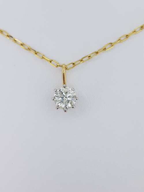 Solitaire diamond pendant and chain d0.75cts