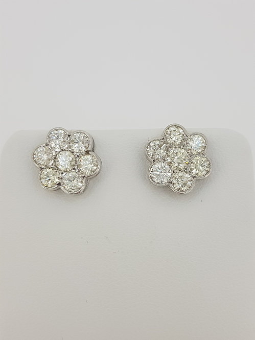Daisy cluster diamond earrings 2.25cts