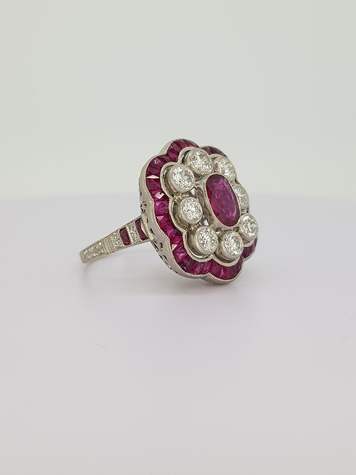 Ruby and diamond Art Deco style cluster ring.