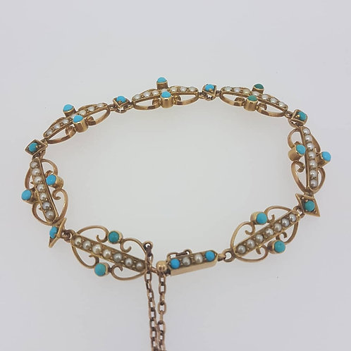 Victorian turquoise and pearl set bracelet.