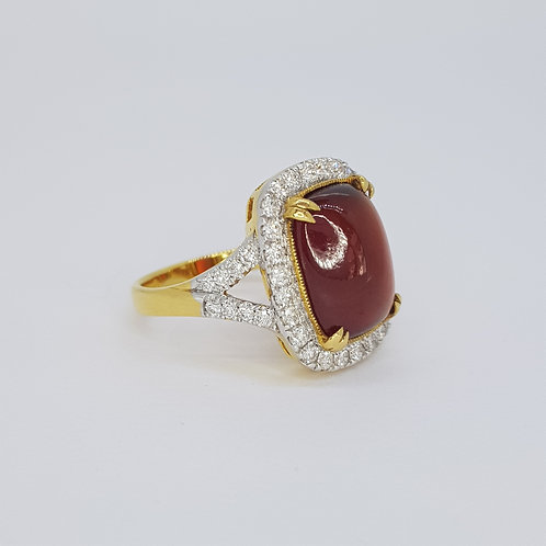 Garnet and diamond cluster ring D0.86cts
