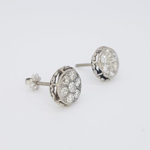 Vintage diamond cluster earrings in platinum