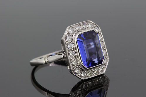 Tanzanite and diamond cluster ring TZ4.50cts D 80cts
