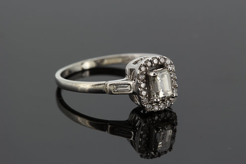 Baguette and diamond cluster ring. 52cts x .35cts