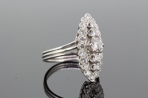 Marquis shaped platinum and diamond ring d1.30cts