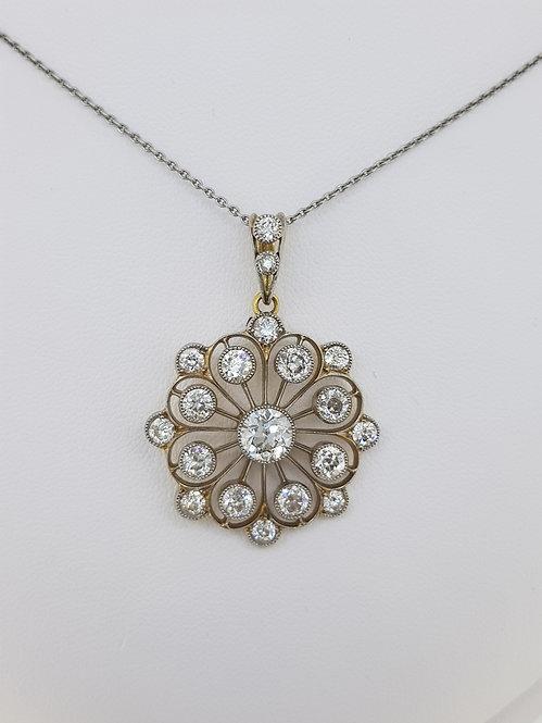 Platinum and diamond pendant est4.0cts