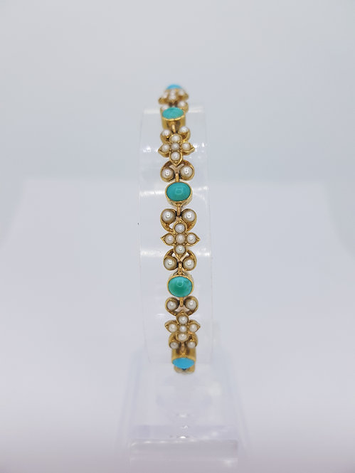 Antique turquoise and pearl 18ct bracelet.