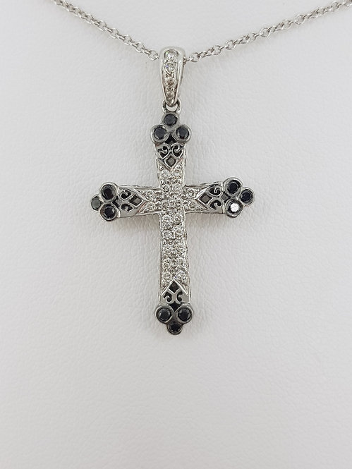 Gothic diamond cross and chain.