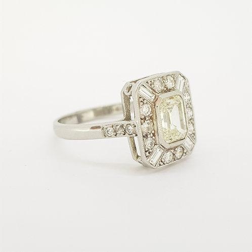 Deco style diamond cluster ring