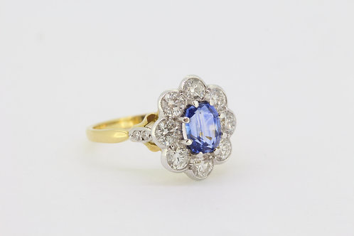 Sapphire and diamond cluster ring a1.60cts d1.25cts