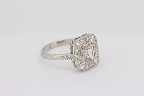 Deco style platinum and diamond ring