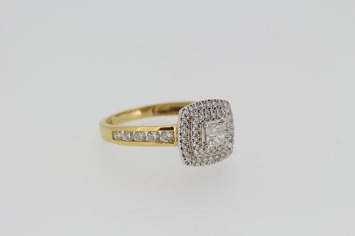 Princess cut diamond cluster ring.
