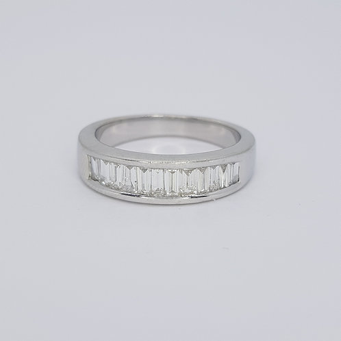 Baguette channel set 1/2 eternity ring. D0.96