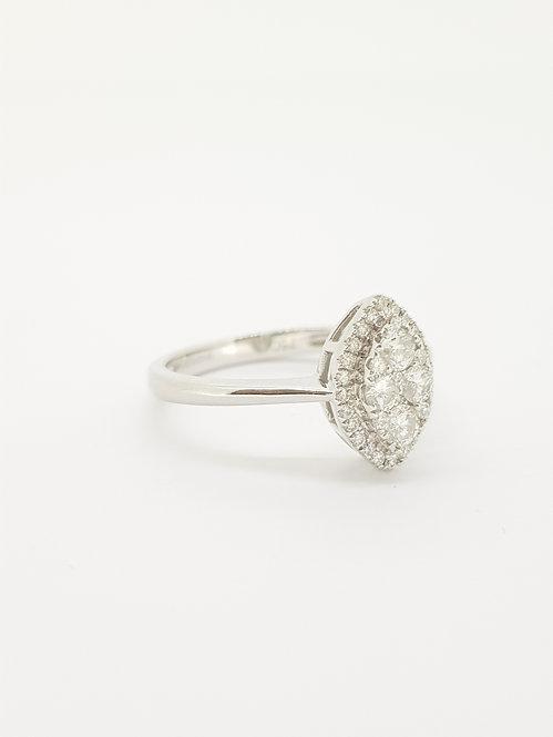 Contemporary marquee shape diamond ring.