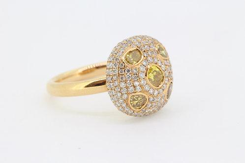 Diamond mushroom ring d1.17cts yd1.01cts