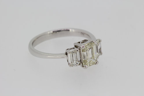 Emerald cut three stone diamond ring cs1.15cts os.60cts