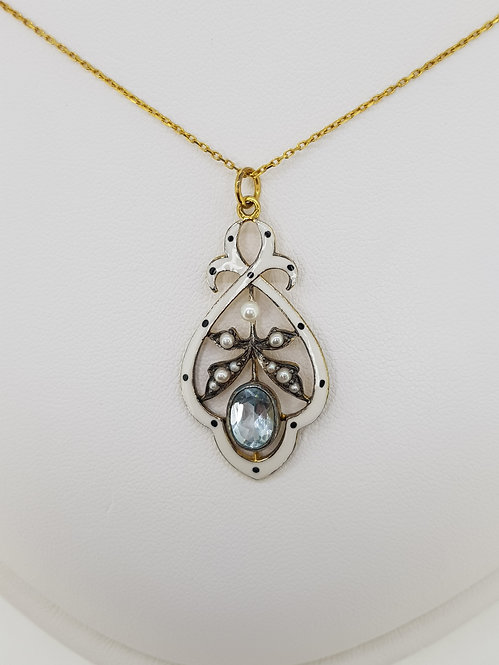 Blue Topaz,  Pearl and Enamel pendant and chain