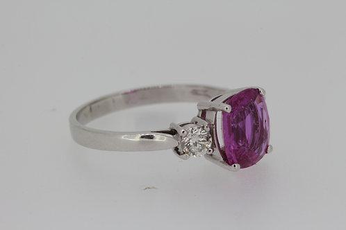 Pink sapphire and diamond ring sapphire 2.40cts 40pts of diamonds set in plati