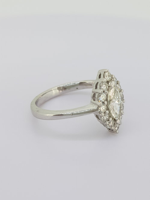 Marquee diamond cluster ring.