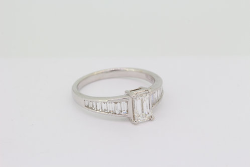 Emerald cut and baguette diamond ring D.82cts x .44cts