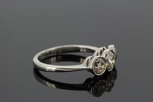 Platinum and diamond three stone ring tdw1.75cts